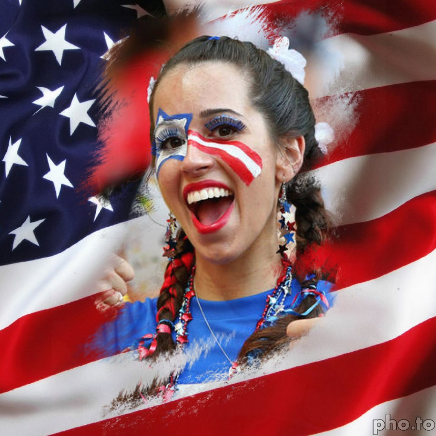 Patriotic American girl celebrates the 4th of July with USA face paint