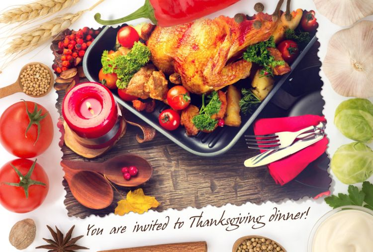 Thanksgiving dinner invitation created online