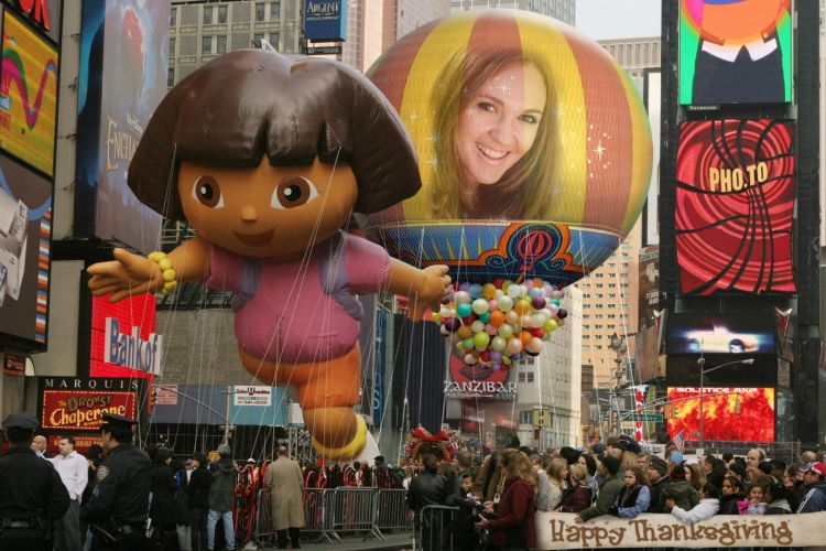 A photo of a girl was put on Macy's Parade huge balloon
