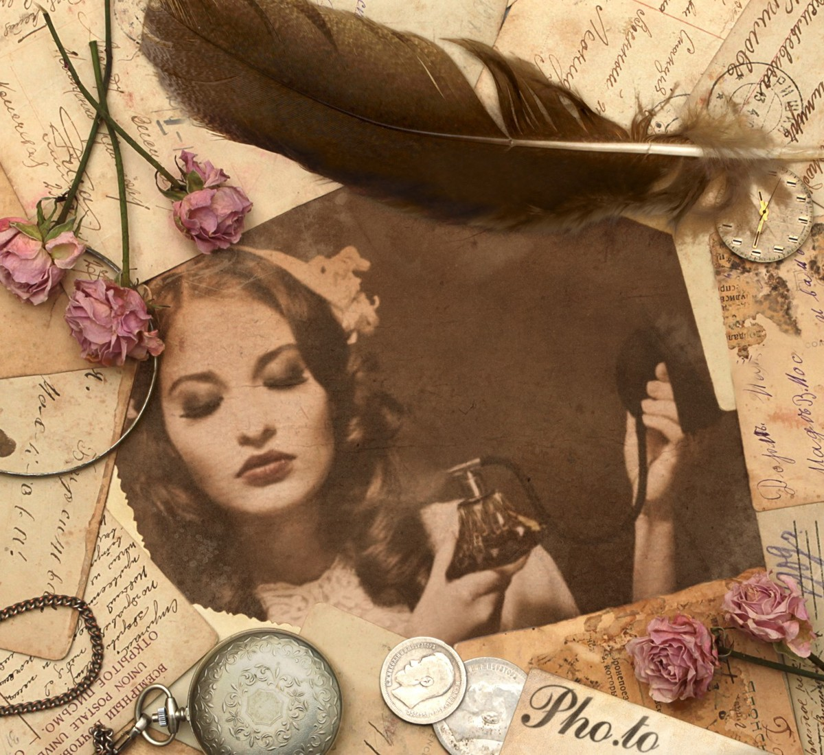 How to make a birthday card from photo in vintage style