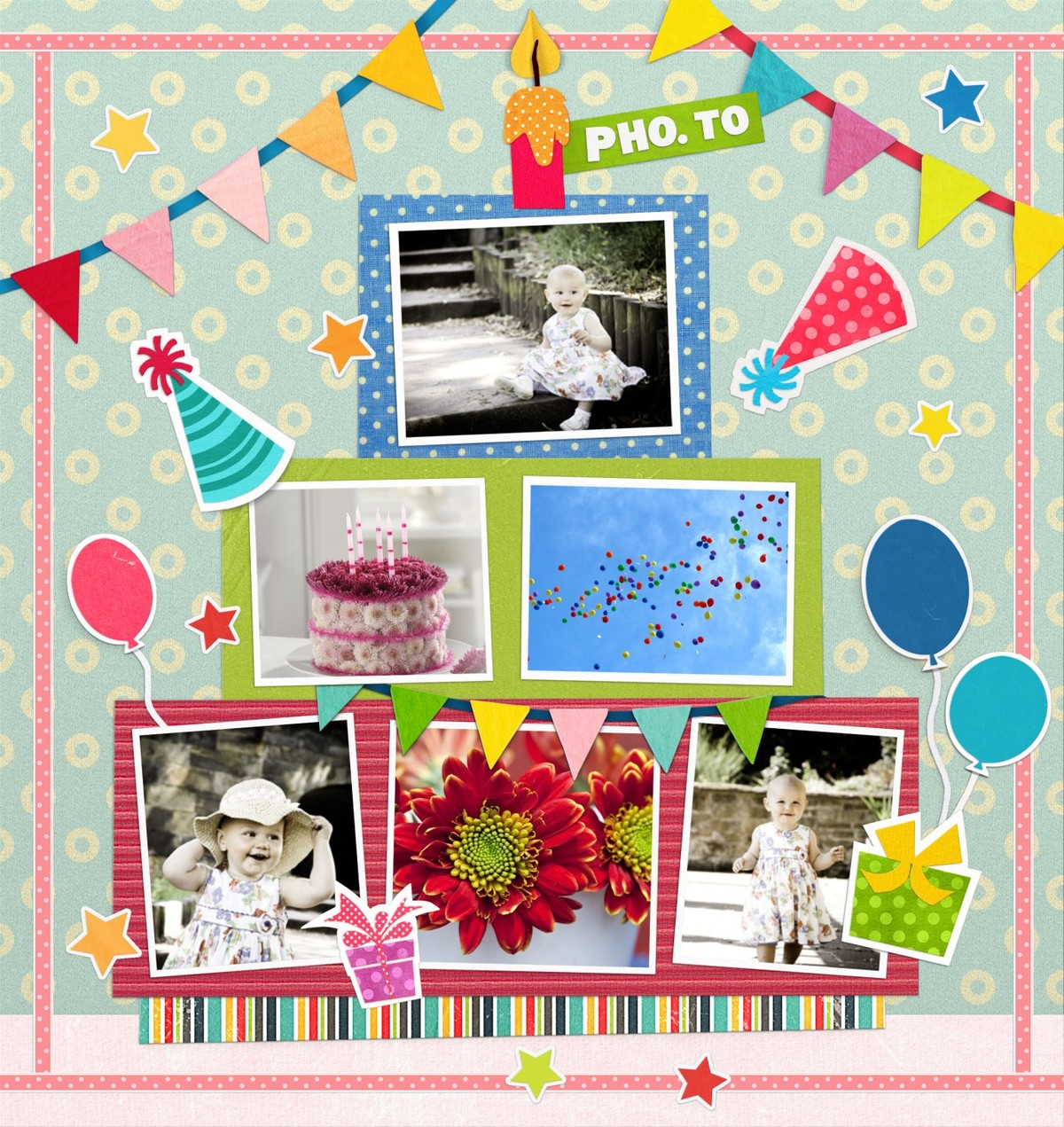 A birtday photo collage for one little girl