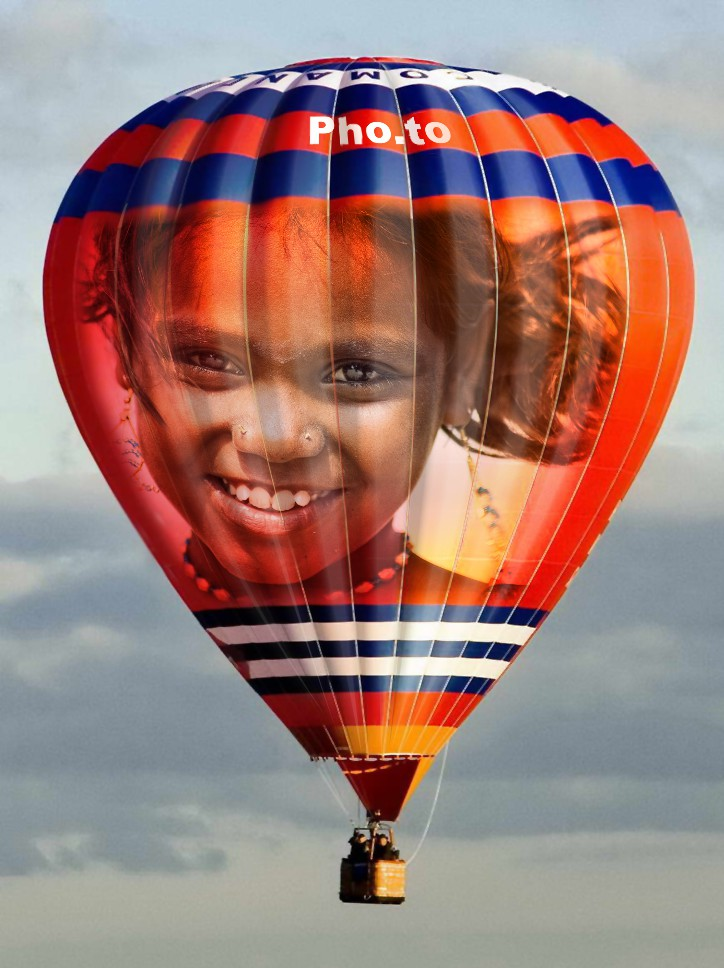 A cool birthday card with air balloon
