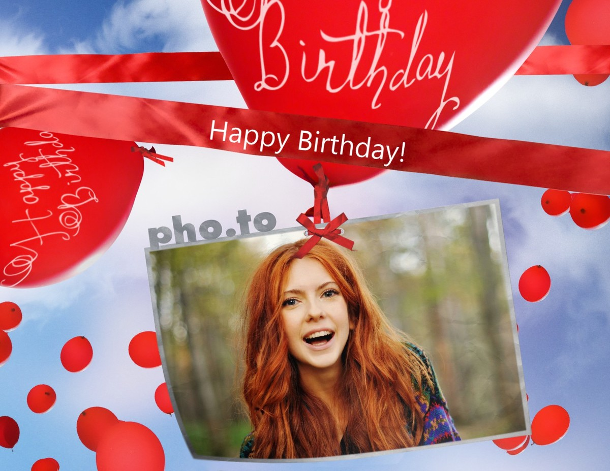 A beautiful birthday card with photo. Wish your friend a Happy Birthday with 'Birthday Balloons' photo frame.