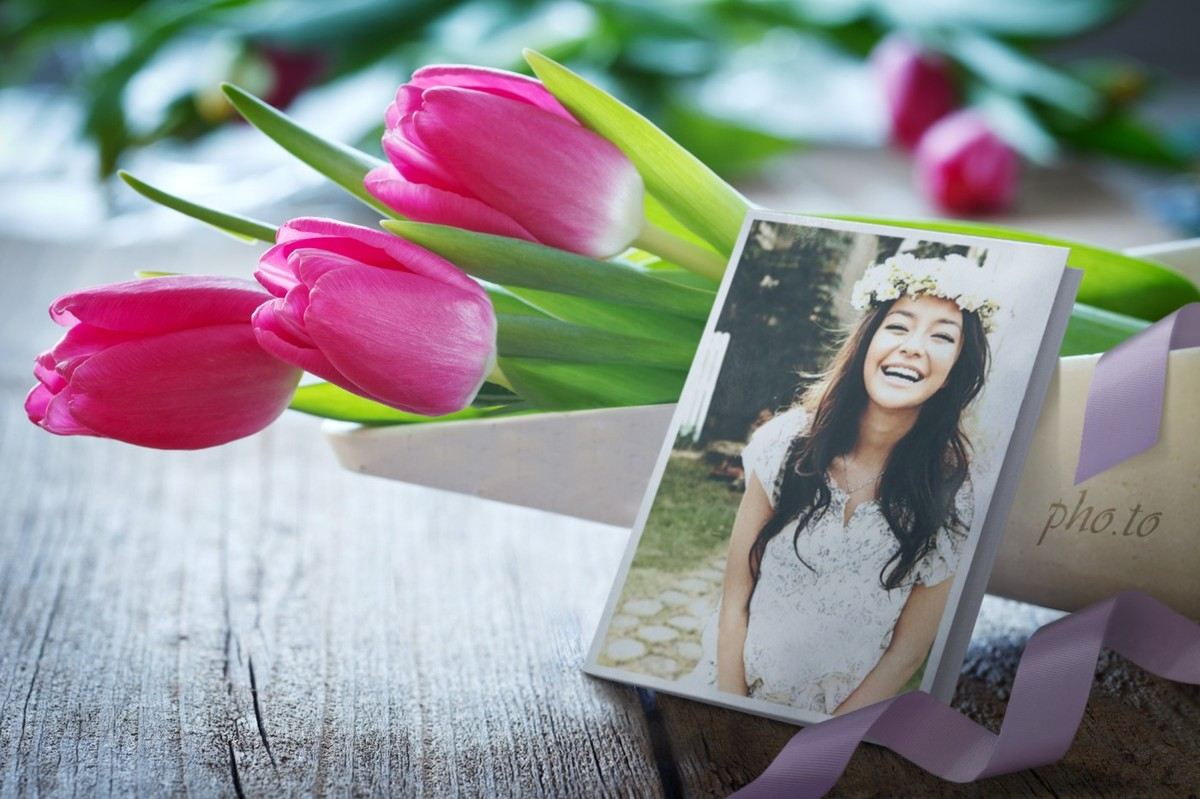 How to make a personalized birthday card from photo with flowers