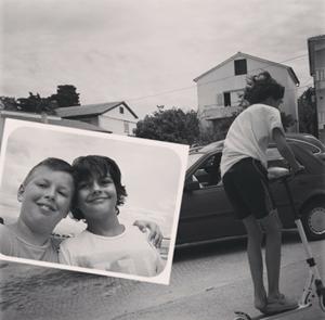 Retro selfie with smiling kids