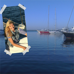 Attractive blonde girl takes a collage selfie when she sails in a yacht