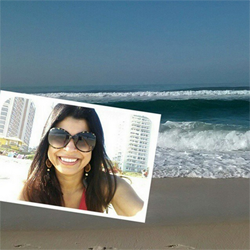 Selfie of a girl in sunglasses relaxing on a beach