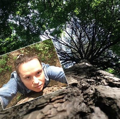 Unusual selfie near a green tree