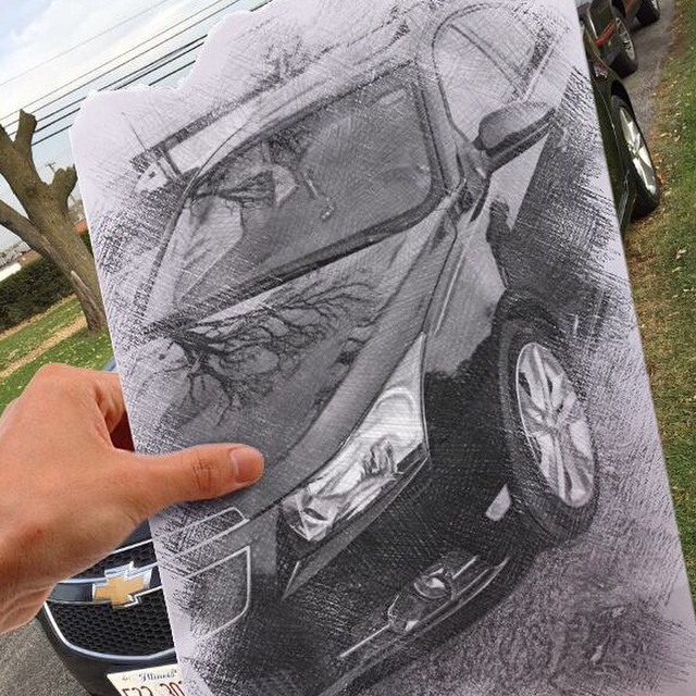 Photo of a Chevrolet Cruze car taken by its owners and turned into a pencil sketch with mobile photo editor Pho.to.Lab