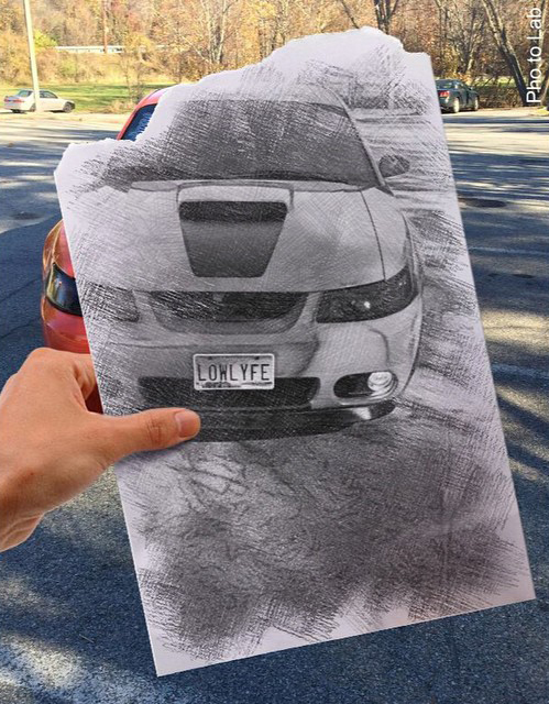 Photo of a Ford Mustang car taken by its owners and turned into a photo into sketch picture with mobile photo editor Pho.to.Lab