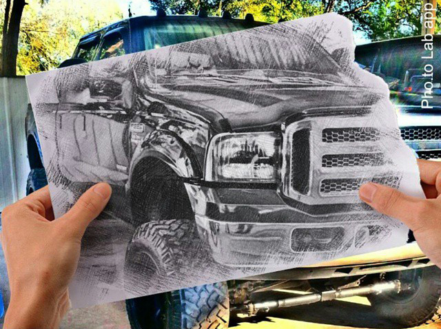 Car photography with Ford F250 changed into a photo into sketch picture with mobile photo editor Pho.to.Lab