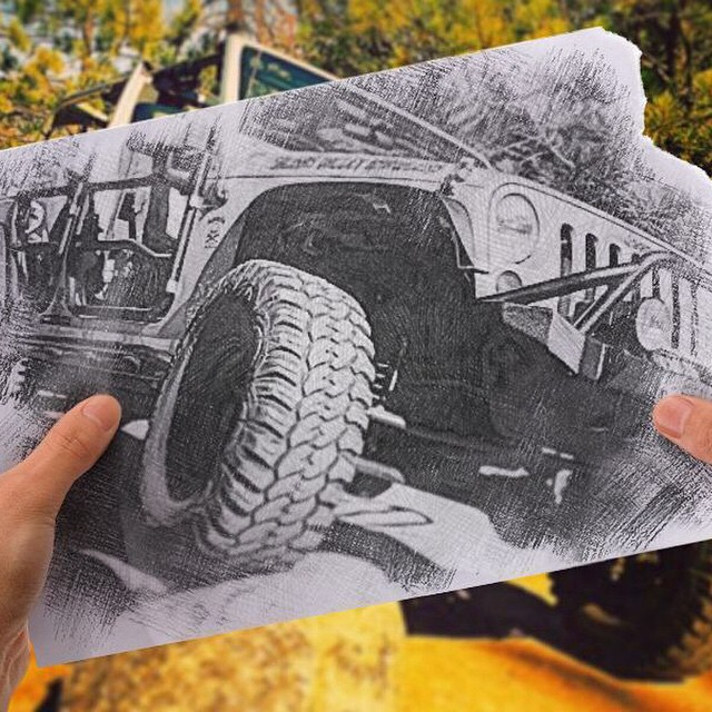 Photo of a jeep Wrangler taken by its owners and edited into photo into sketch picture with mobile photo editor Pho.to.Lab