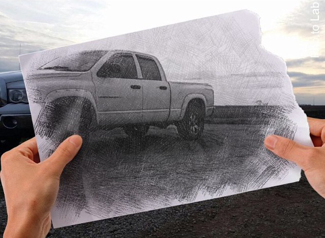 Car photography with pickup car changed into a photo into sketch picture with mobile photo editor Pho.to.Lab
