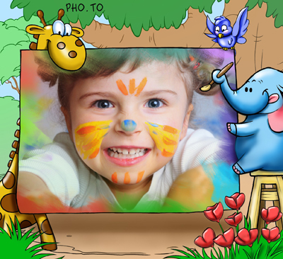 Kids photo frame with a cartoon elephant artist