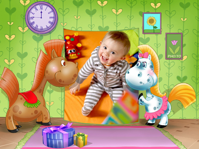 Cute photo frame for kids with cartoon horses
