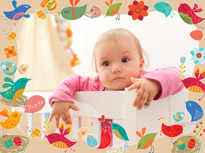 Baby photo frame with cartoon birds