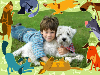 Photo frame for kids with playful cartoon dogs