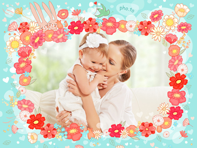 Cartoon photo frame for little ones with cartoon rabbits and flowers