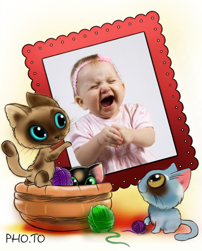 Baby Shower photo frame with cute cartoon kittens