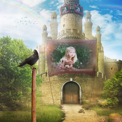 Free online photo frame for children with a magical castle