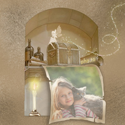 Free online photo frame for kids with a little fairy and a treasure box