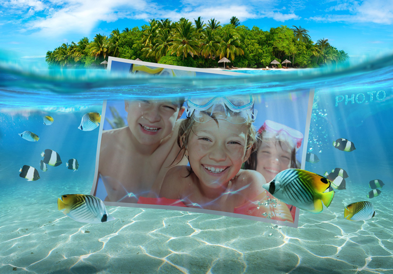 Greeting photo card with blue ocean waters for kids