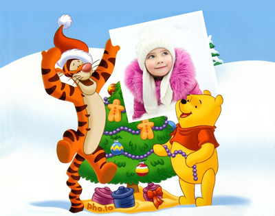 Christmas photo frame for children with Winnie the Pooh animations characters