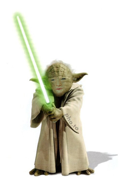 Yoda from Star Wars face photo montage