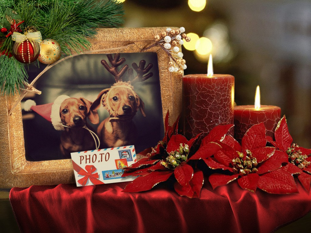 A Christmas real collage template for digital photos
