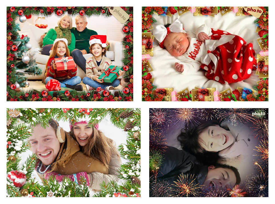 Christmas photo frames with fir trees, gifts, toys, lights and other holiday adornments