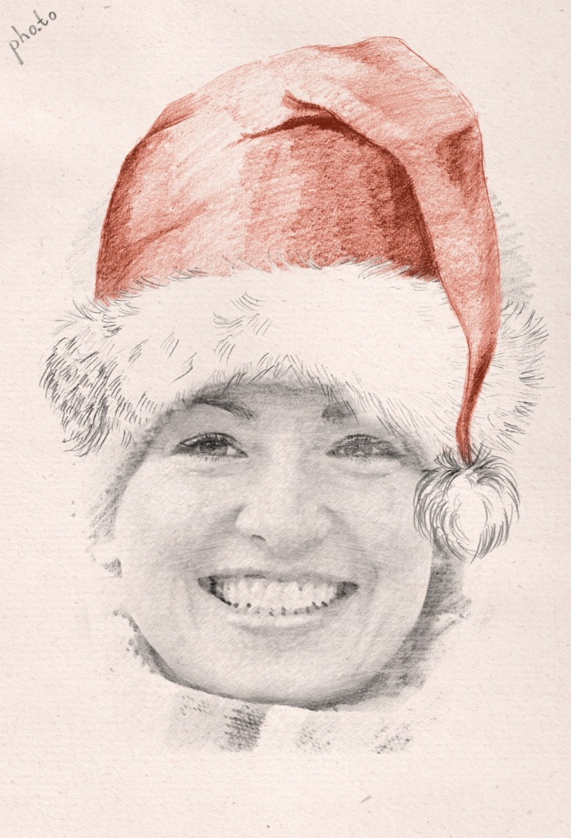 Turn your face photo into a santa sketch with this christmas face in hole