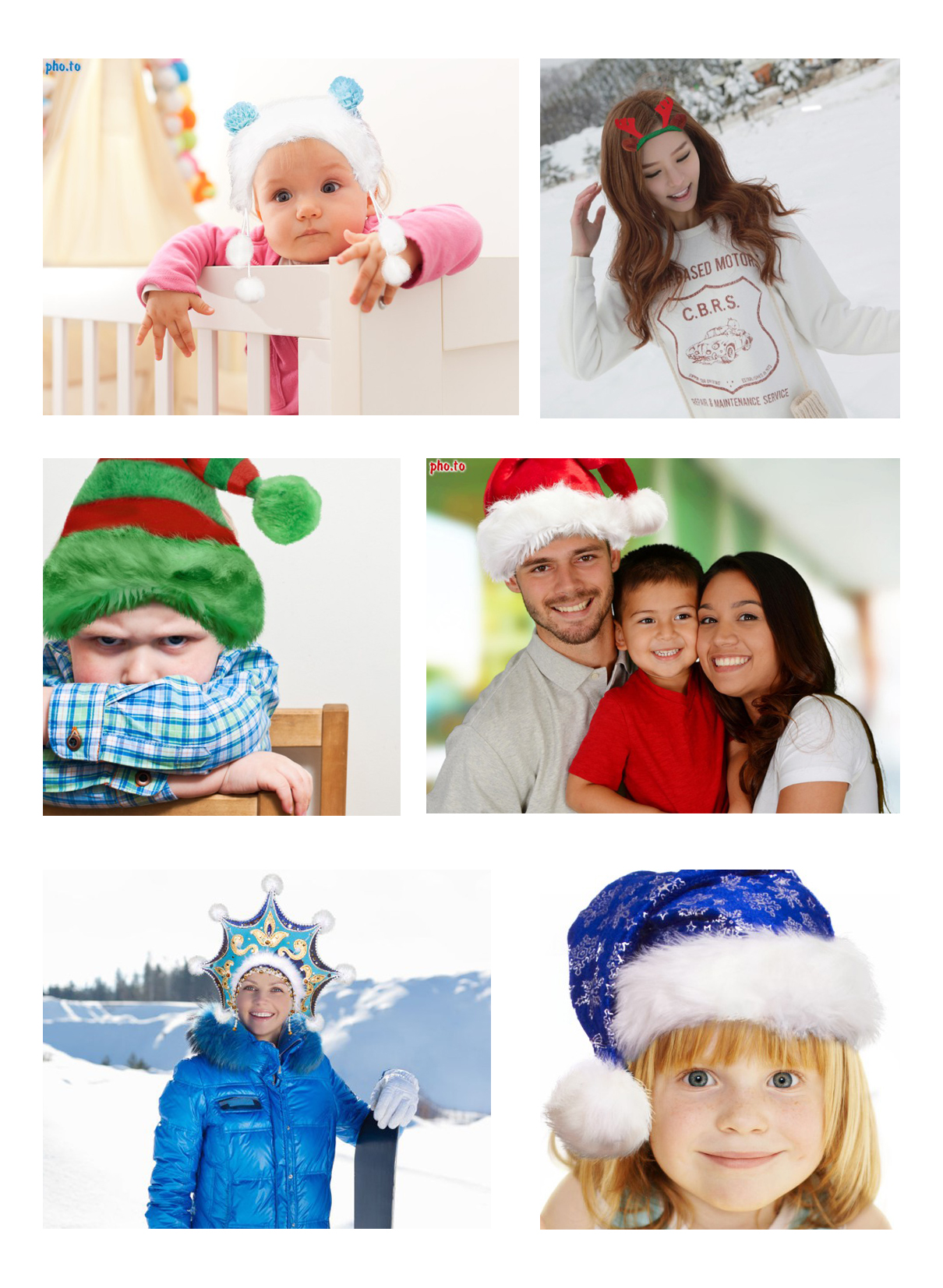 Christmas stickers with blue and red Santa hats, elf's hats and a snow maiden headwear to adorn your photos