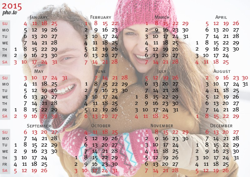 Make a pocket photo calendar for the upcoming year 2015