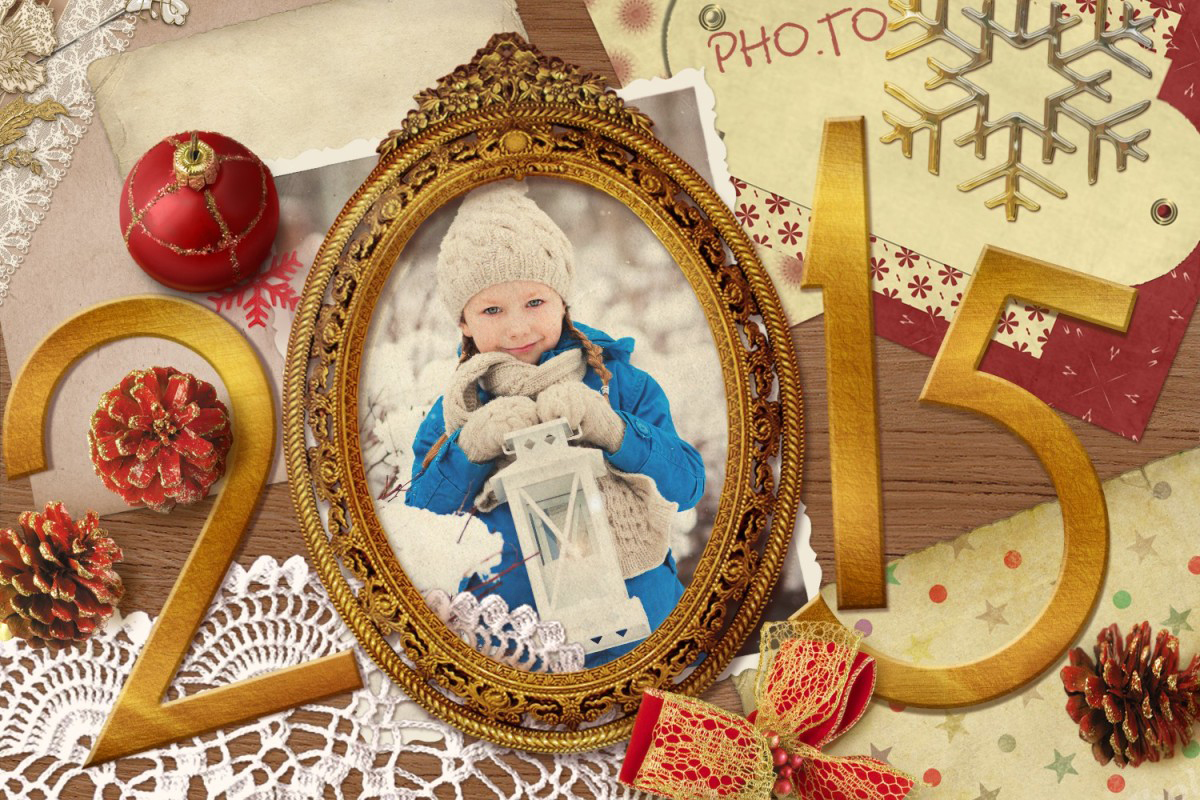 Make a cover for a pocket calendar with this New Year 2015 photo frame