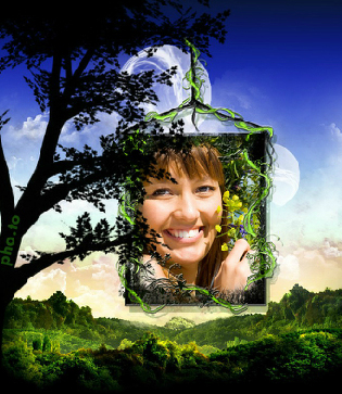 This magical forest frame looks very good with face photos