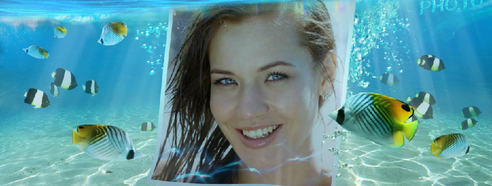 Blue tropical sea photo frame