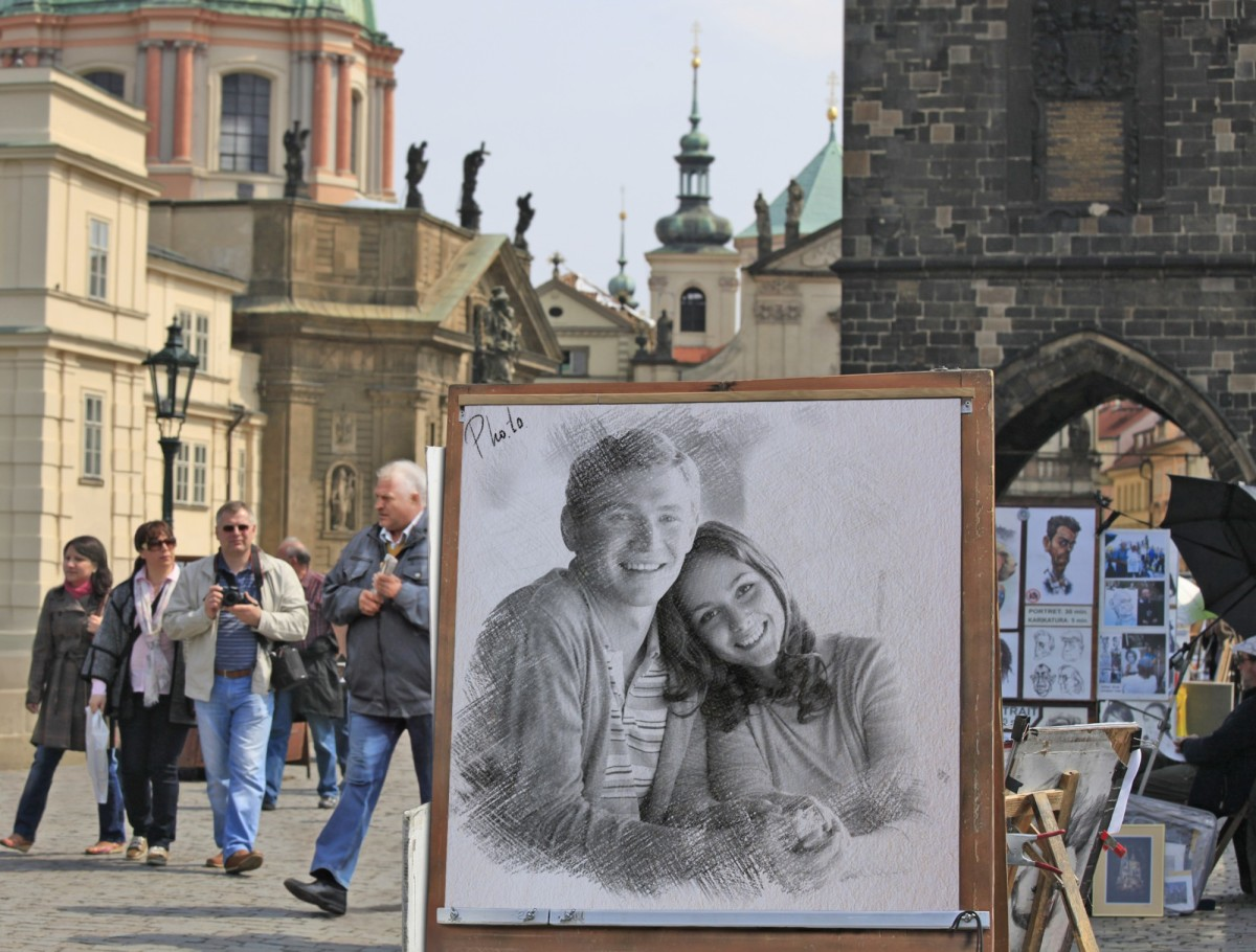 Artistic photo frame with Charles bridge from Prague, Czech Republic