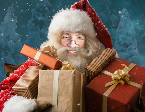 Santa with gifts face photo montage can be used to make funny Christmas cards for online and free