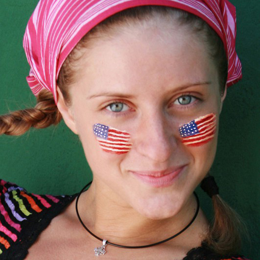 Put on virtual face paint with USA flag online and for free. For real patriots!