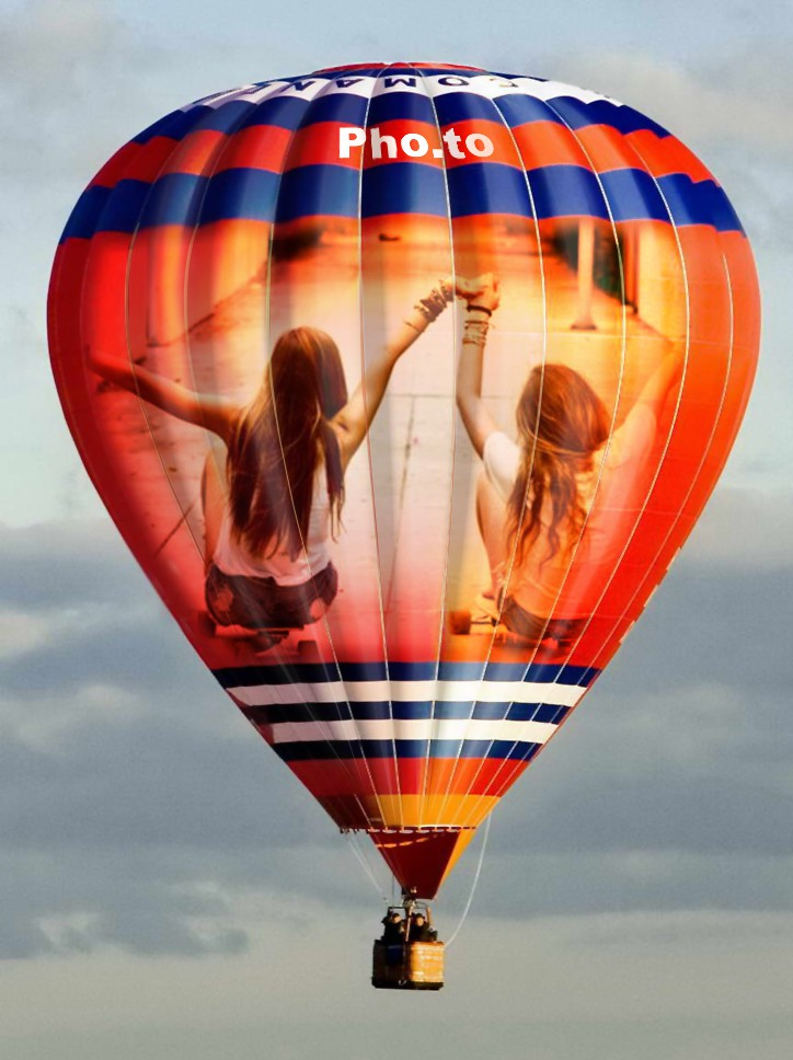 Photo collage of two girls placed on a red air balloon