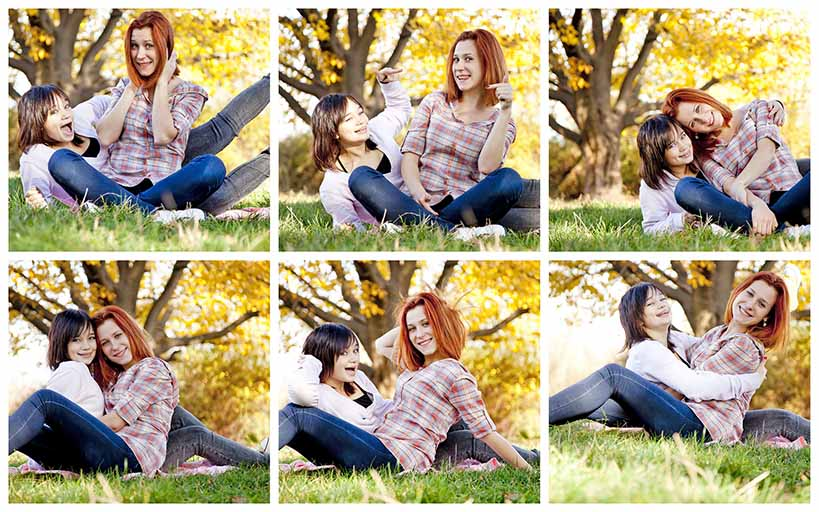A photo shoot collage with many photos of two pretty girls