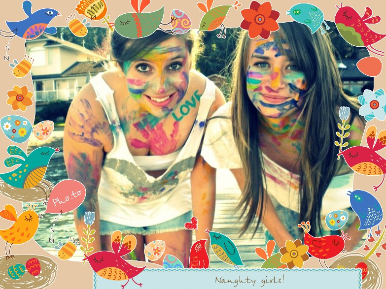Two young girls in paint smile. Stylish photo frame is added.