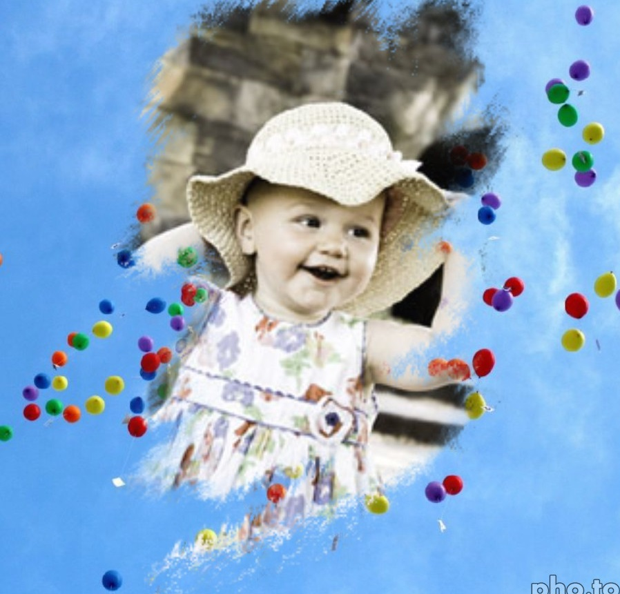 A photo collage with little kid and color balloons
