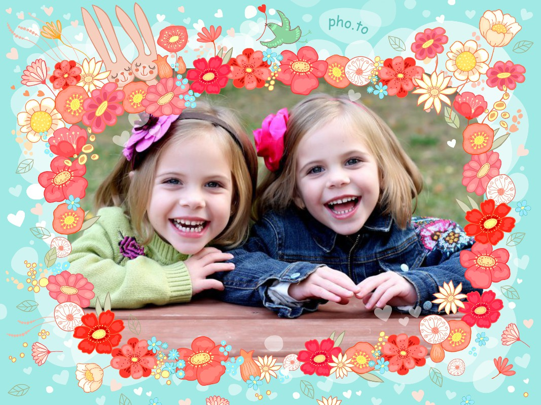 Photo of two little girls. Photo frame with cute rabbits is added