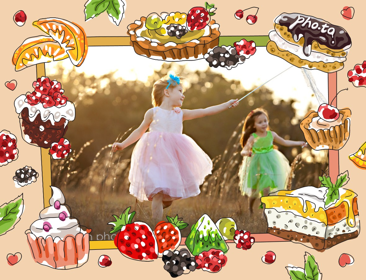 Photo of two little girls in beautiful dresses. Photo frame with yummy sweets is added