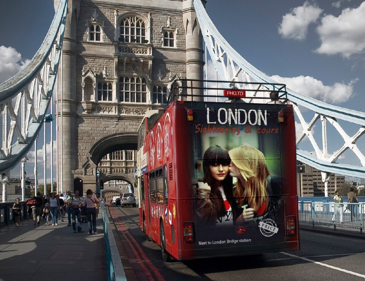 In the photo collage photo of two girls is added as a placard on London bus