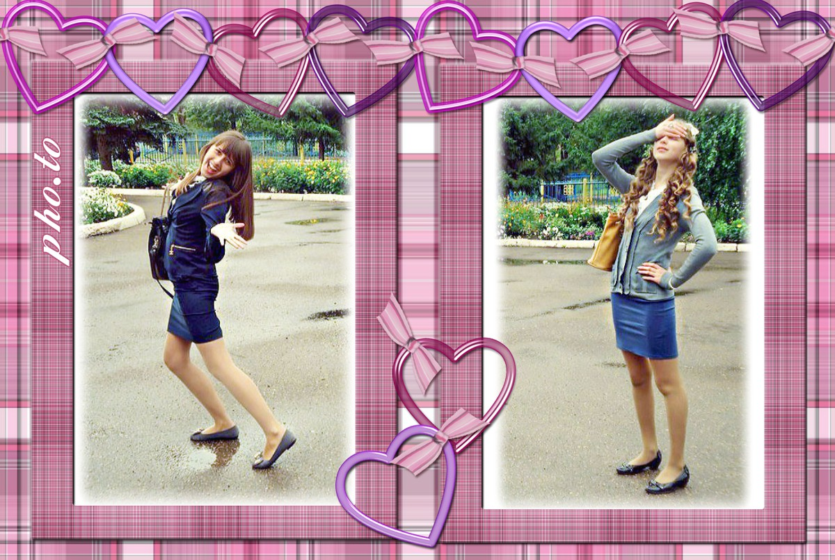 Photo collage of two girls. Simple photo frame is added