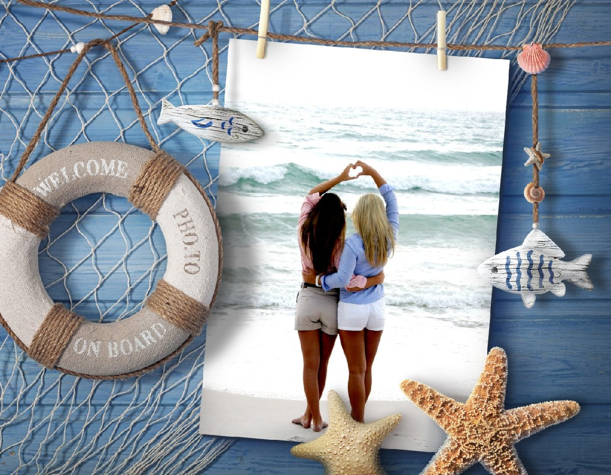Two girls hugging each other at a beach. Sea frame is added.