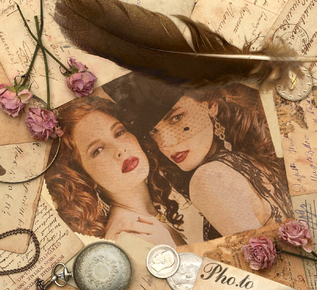 Retro photo of two girls with a vintage style photo frame