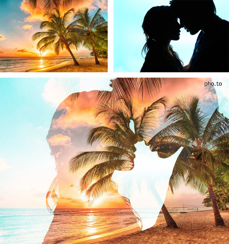 Use double exposure effect to create awesome and romantic blendings with silhouette photos of couples in love and amazing beach sunsets